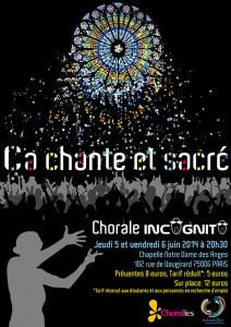 """Affiche du concert """"Ça chante et sacré"""" de la chorale de jeunes Incognito de Paris en 2014. Le vitrail coloré de Notre-Dame de Paris surplombe une foule et répand une pluie de confettis sur le public"""