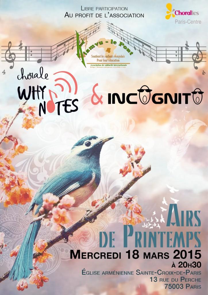 Concert chorale Incognito mercredi 18 mars 2015 à Paris